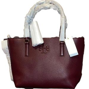 🌻TORY BURCH THEA 🌻 SMALL LEATHER IMPERIAL GARNET